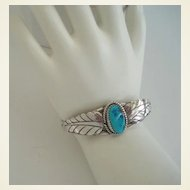 Vintage Native American Tourist Style Bracelet Turquoise Sterling With Overlays Signed