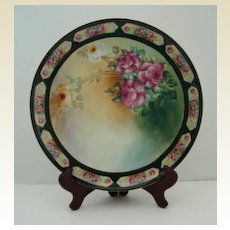 Antique Limoges T&V France Hand Painted Porcelain Charger PINK Yellow and White Victorian TEA ROSES Breathtaking Tressemann and Vogt 1892 – 1907 Artist Signed