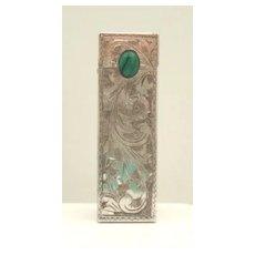 Vintage Italian 800 Silver Lipstick Case Engraved Florals & Flourishes Malachite Cabochon