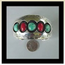 Large Vintage Native American Coral &Turquoise Cuff Bracelet Shadowbox Navajo Sterling Signed