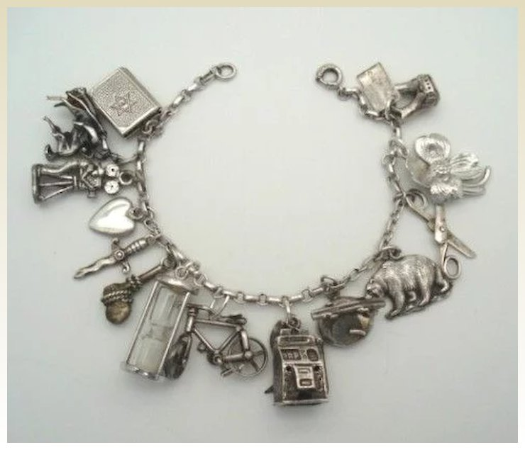 Fantastic 1940 S Loaded Sterling Silver Charm Bracelet 14 Charms Mechanical