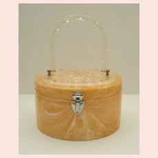 Vintage Pearlized LUCITE Pill Box Purse Deeply Reverse Carved Floral Top Very Roomy
