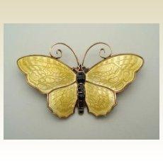 "Signed David ANDERSEN Norway Butterfly Brooch Pin LARGE 2 3/8"" Sterling Silver Guilloche Enamel"