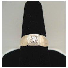 Vintage Pre-1920 14KT Gold European Cut Diamond Art Deco Ring Hallmarked AS