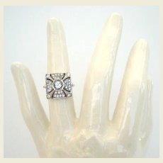 Vintage Art Deco Egyptian Pyramid Shape Sterling Silver Ring Paste Marked