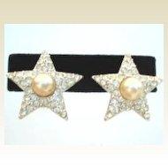 Elegant Vintage STAR Earrings Rhinestones & Faux Pearl Rhodium