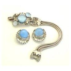 Vintage Marcel Boucher Phrygian Cap & Mazer Signature Bracelet Earrings Sterling Blue Moon Stones
