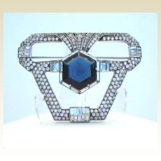 "Vintage Very Rare German ""KP"" Knoll & Pregizer Sterling Silver Art Deco Brooch Faux Sapphire"