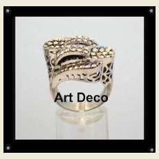 Spectacular UNIQUE Vintage ART DECO Sterling Silver Marcasite Ring Asymmetrical Pierced Hallmarked