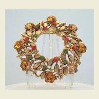 Vintage Autumn Golden Topaz Marguerite Glass Flower Brooch Hyacinth & Olvine Rhinestones