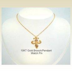 Exquisite Antique 10KT Karat Gold Fleur de Lis Watch Pin Brooch Pendant