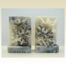 Beautiful Vintage Hand Carved Soapstone Floral Bouquet Bookends
