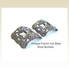Antique FRENCH Mid-Victorian 1800's Cut Steel Shoe Buckles Clips Intricate Exquisite Design
