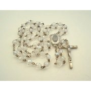 Vintage Italian Lourdes Pilgrimage Rosary Faceted Aurora AB Crystals Holy Water Compartment