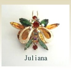 Rare & Unusual Vintage Juliana BUTTERFLY Brooch Pin Raised Metal Wings Applied Floral