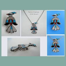 Vintage Native American Thunderbird Brooch Pin Sterling Silver Turquoise Coral Jet MOP