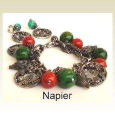 RARE Vintage NAPIER BAKELITE Charm Bracelet & Earrings Set Oriental Medallions Signed