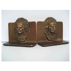 Vintage Native American Indian Chief Bookends Cast Bronze Finish