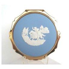 Vintage STRATTON England Compact Josiah Wedgwood White Cameo on Blue Jasperware NIB
