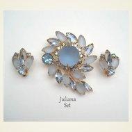 Vintage Juliana D&E Demi Ice Blue Satin Glass Flower Brooch & Earrings Set