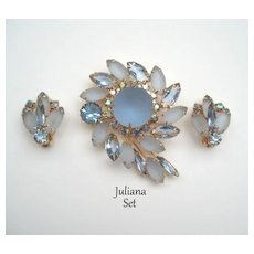 Vintage Juliana D&E Demi Ice Blue Satin Glass Flower Brooch & Earrings Set