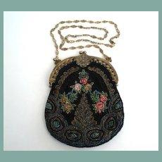EXCELLENT Vintage Art Nouveau Floral Beaded Purse Flapper Length Gilt Floral Chain