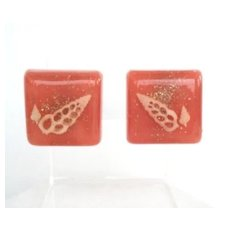 Luscious Vintage Peach Parfait Lucite Earrings with Sea Shells & Confetti Glitter