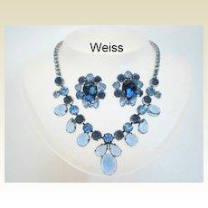 Vintage Weiss Sapphire Blue Moon Set Art Glass Stones & Rhinestone Necklace Earrings
