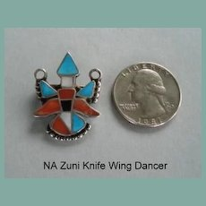 Fabulous Vintage Native American Zuni Colorful Knife Wing Dancer Inlaid Brooch Pendant Sterling Silver