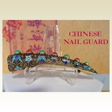 Rare Vintage Oriental Chinese Nail Guard Brooch Pin Silver Turquoise Coral Cabs Marked