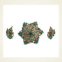 Gorgeous Vintage 3 Pc. Demi Parure Set Rhinestones Sapphires & Emeralds