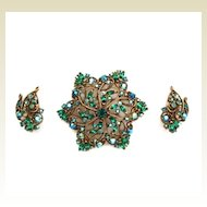 Gorgeous Vintage 3 Pc. Demi Parure Set Rhinestones Sapphires & Emeralds
