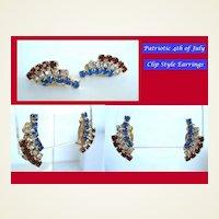 Patriotic 4th of July Vintage Earrings Red White & Blue Rhinestone