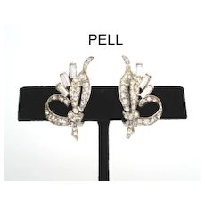 Exquisite Vintage Signed Pell Hollywood Glamour Rhinestone Earrings