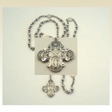 Exquisite HFB Hallmarked Vintage All Sterling Silver Rosary Small Size