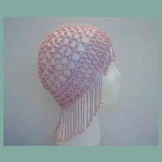 Intriguing Vintage Flapper Style Juliet Hat Cap Lavender Purple Glass Beads Simulated Pearls
