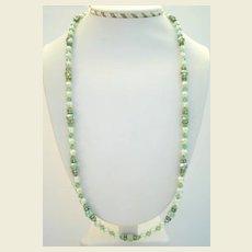 "Vintage 26"" Long Peridot Austrian Crystal Aurora Necklace Rhinestone Rhondelles Simulated Pearls"
