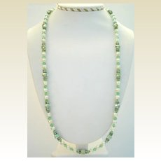 "Vintage 26"" Long Peridot Austrian Crystal Aurora Necklace Rhinestone Rhondelles Simulated Pearls"