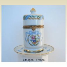 "Gorgeous Vintage Limoges France Porcelain Hand Painted ""Royal"" 2 Pc Smoke Set"