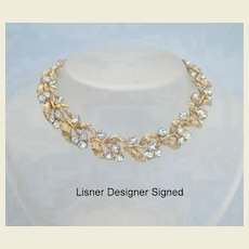 Vintage Signed Lisner Crystal Glow Rhinestone Necklace Absolutely Brilliant Fire