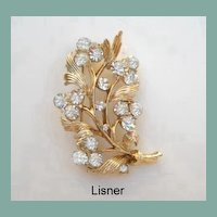 Vintage Signed Lisner Crystal Glow Rhinestone Brooch Pin Absolutely Brilliant Fire