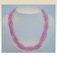 Vintage 12 Strand Glass Torsade Necklace Lavender & Pink