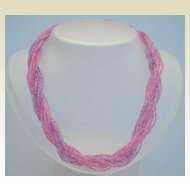 Vintage 12 Strand Glass Torsade Necklace Lavender & Pink