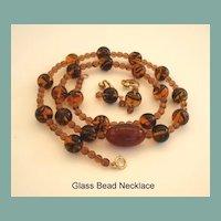 Vintage Autumn Art Glass Bead Necklace Earrings Set Tortoise Shell Tiger's Eye Colors