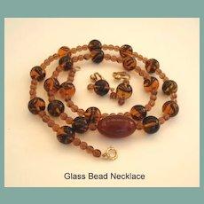 Vintage Autumn Art Glass Bead Necklace Earrings Set Tortoise Shell Tiger Eye Colors