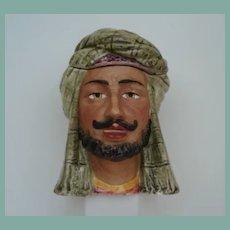 Antique Middle Eastern Head Man Porcelain Majolica Humidor Tobacco Jar Bazaar Merchant