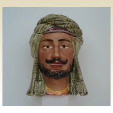Antique Middle Eastern Head Man Porcelain Majolica Humidor Tobacco Jar Bazaar Merchant
