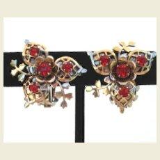 Complex Intricately Designed Vintage Earrings Red Rhinestones Flower Design