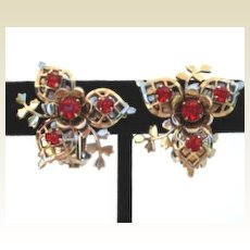 Complex Intricately Designed Vintage Earrings Red Rhinestones Flower Design