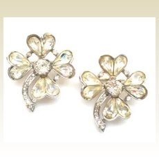 Vintage Trifari Set LUCKY Four Leaf Clover Brooches Rhinestones